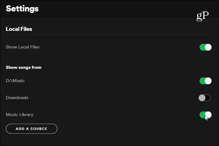 Spotify Settings Local Files
